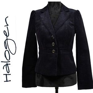 Halogen Black Velvet Jacket Pleated Buttons Sz.  S
